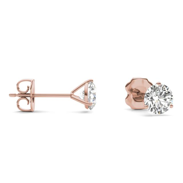 1 CTW Round Caydia Lab Grown Diamond Three Prong Martini Solitaire Stud Earrings 14K Rose Gold