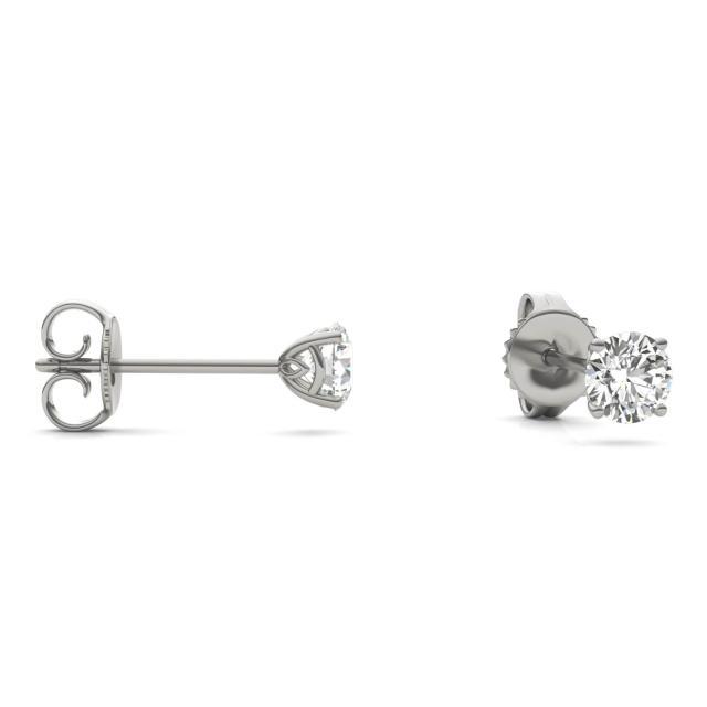 1/2 CTW Round Caydia Lab Grown Diamond Signature Basket Stud Earrings Platinum