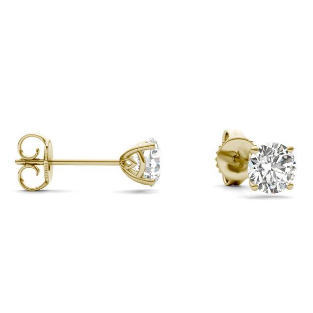 1 CTW Round Caydia Lab Grown Diamond Signature Basket Stud Earrings 18K Yellow Gold