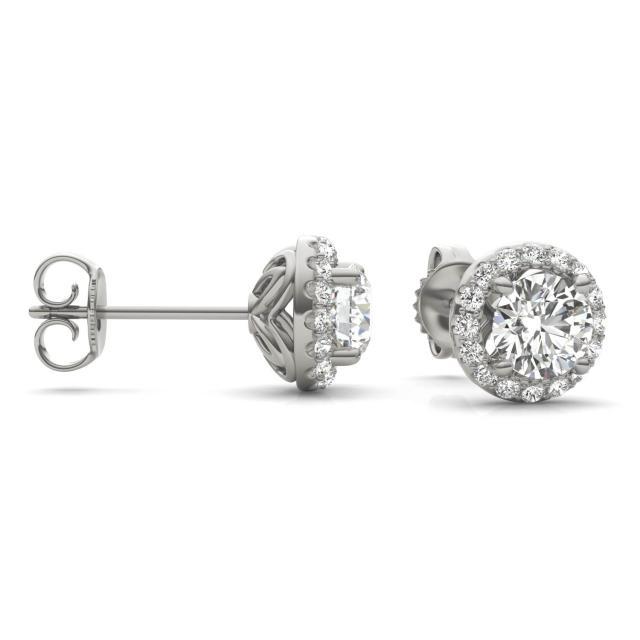 1 1/6 CTW Round Caydia Lab Grown Diamond Signature Halo Stud Earrings 18K White Gold
