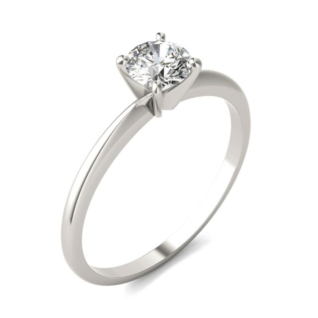 1/2 CTW Round Caydia Lab Grown Diamond Solitaire Engagement Ring 18K White Gold