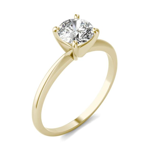 3/4 CTW Round Caydia Lab Grown Diamond Solitaire Engagement Ring 18K Yellow Gold