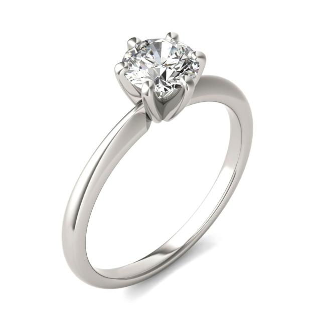 3/4 CTW Round Caydia Lab Grown Diamond Six Prong Solitaire Engagement Ring 18K White Gold