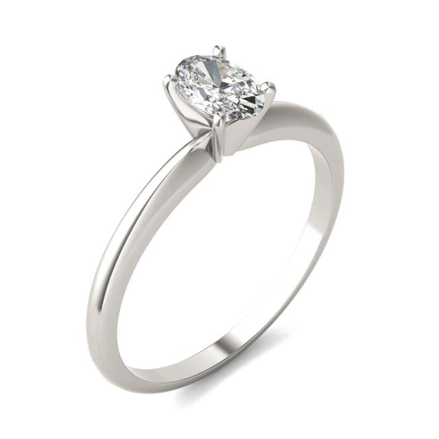 1/2 CTW Oval Caydia Lab Grown Diamond Solitaire Engagement Ring 14K White Gold