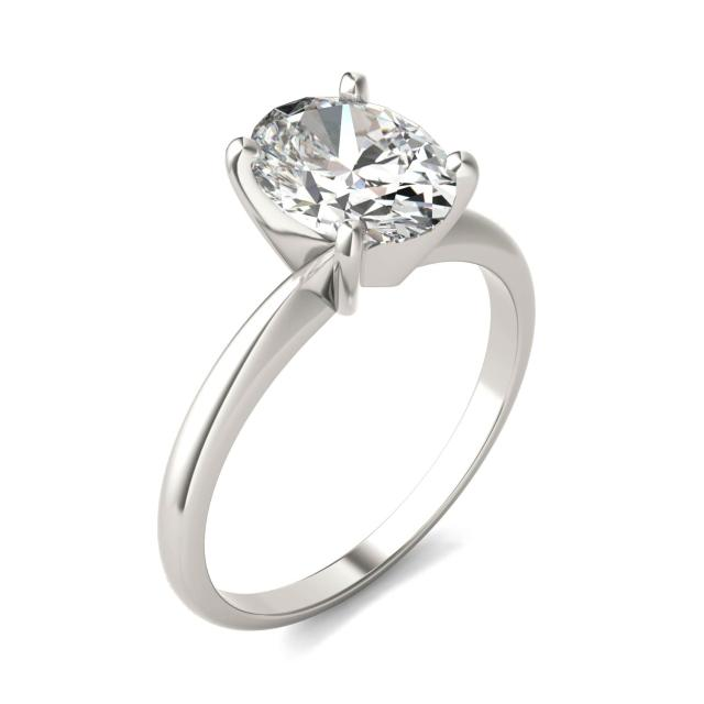 2 CTW Oval Caydia Lab Grown Diamond Solitaire Engagement Ring Platinum