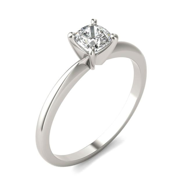 1/2 CTW Cushion Caydia Lab Grown Diamond Solitaire Engagement Ring 14K White Gold