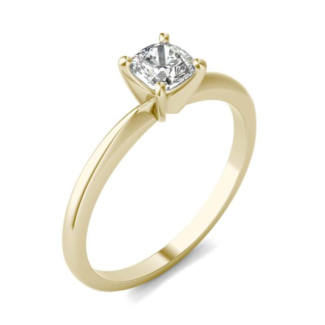 1/2 CTW Cushion Caydia Lab Grown Diamond Solitaire Engagement Ring 18K Yellow Gold