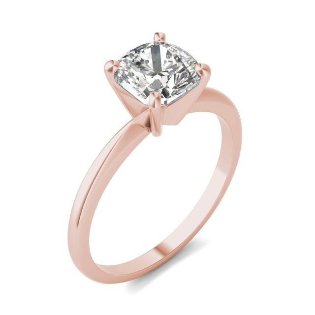 1 1/2 CTW Cushion Caydia Lab Grown Diamond Solitaire Engagement Ring 14K Rose Gold