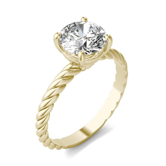 1 1/2 CTW Round Caydia Lab Grown Diamond Twist Solitaire Engagement Ring 18K Yellow Gold