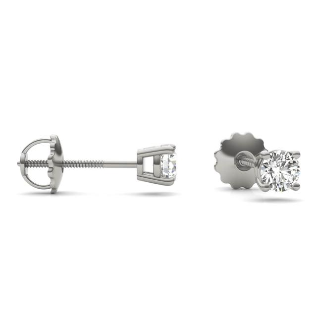 1/2 CTW Round Caydia Lab Grown Diamond Four Prong Screw-Back Solitaire Stud Earrings Platinum