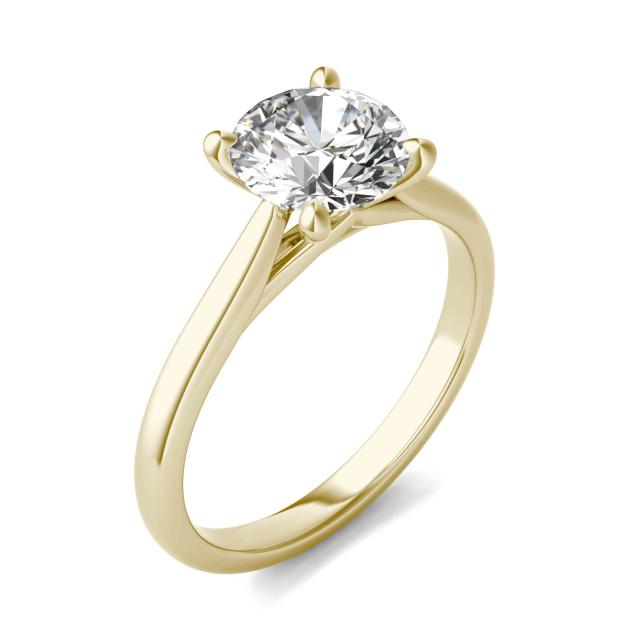 1 1/2 CTW Round Caydia Lab Grown Diamond Cathedral Four Prong Solitaire Engagement Ring 14K Yellow Gold