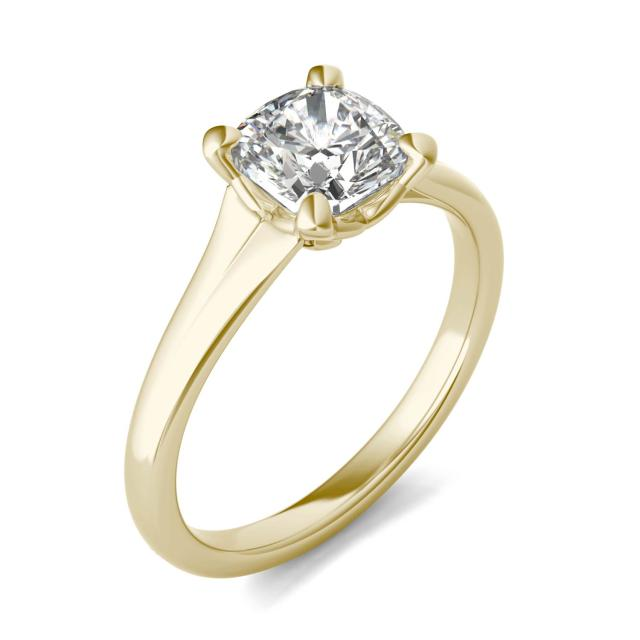 1 1/2 CTW Cushion Caydia Lab Grown Diamond Signature Tapered Solitaire Engagement Ring 18K Yellow Gold