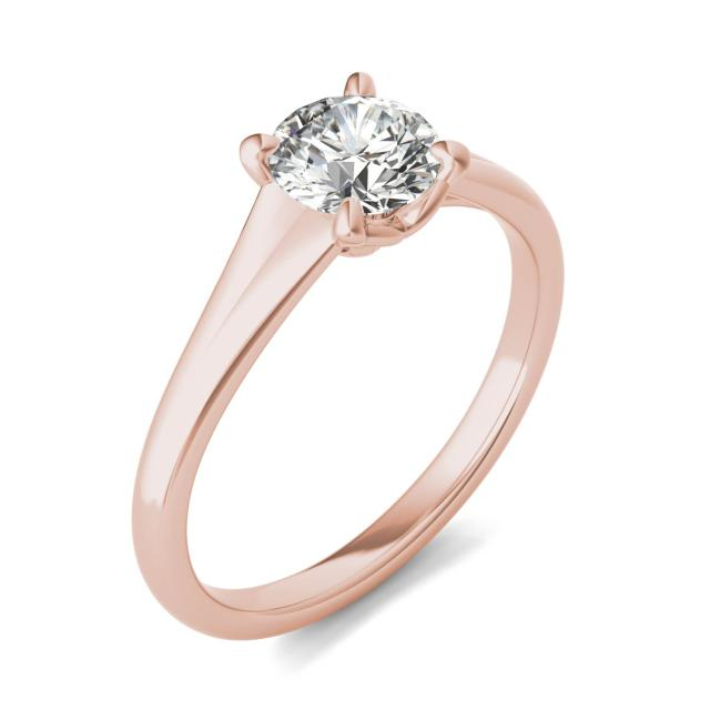3/4 CTW Round Caydia Lab Grown Diamond Signature Tapered Solitaire Engagement Ring in 18K Rose Gold