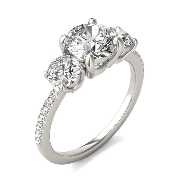 2 1/8 CTW Round Caydia Lab Grown Diamond Three Stone with Side Accents Ring Platinum