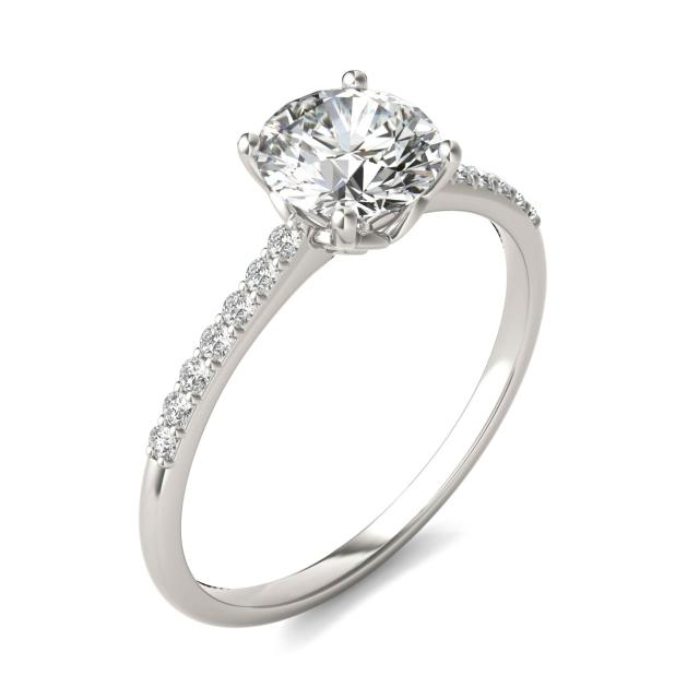 1 1/6 CTW Round Caydia Lab Grown Diamond Signature Side Stone Engagement Ring 18K White Gold