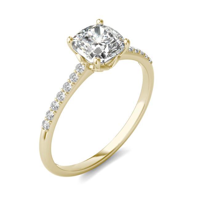 1 1/6 CTW Cushion Caydia Lab Grown Diamond Signature Side Stone Engagement Ring 18K Yellow Gold
