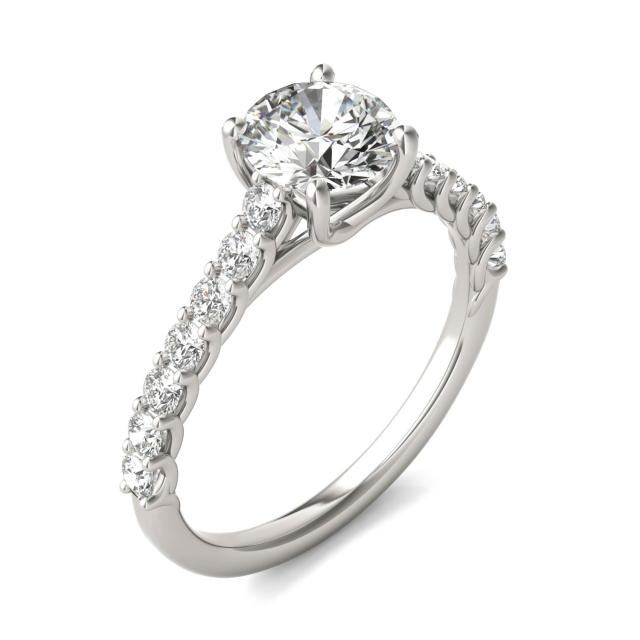 1 2/5 CTW Round Caydia Lab Grown Diamond Trellis Cathedral Engagement Ring 18K White Gold