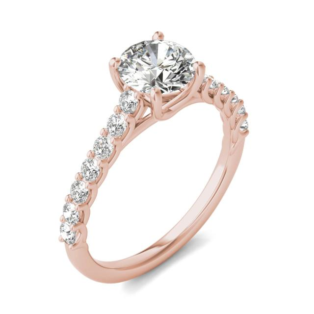 1 2/5 CTW Round Caydia Lab Grown Diamond Trellis Cathedral Engagement Ring 18K Rose Gold