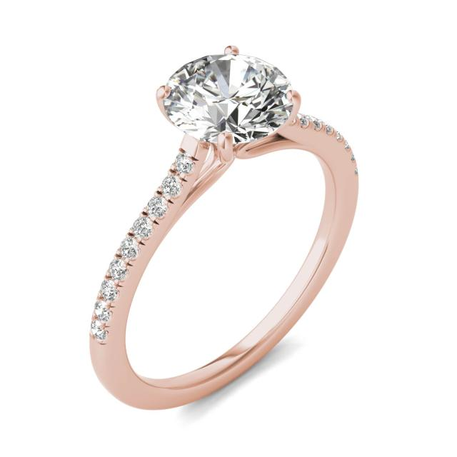 1 2/3 CTW Round Caydia Lab Grown Diamond Side Stone Engagement Ring 14K Rose Gold