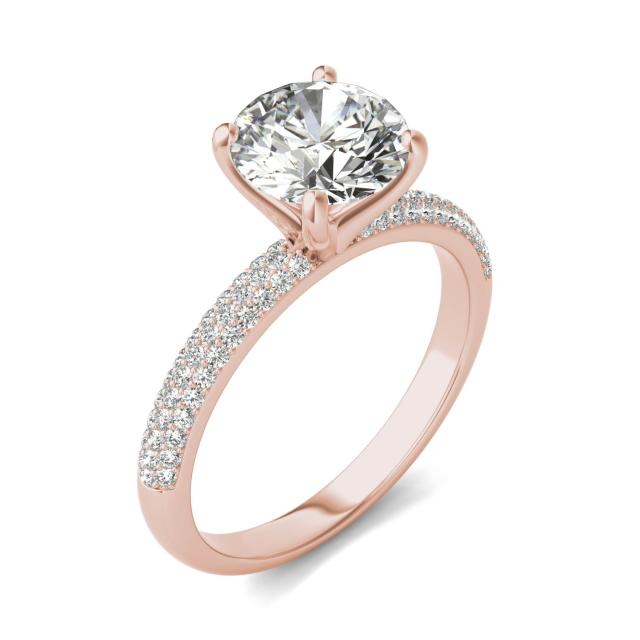 1 7/8 CTW Round Caydia Lab Grown Diamond Pave Engagement Ring 14K Rose Gold