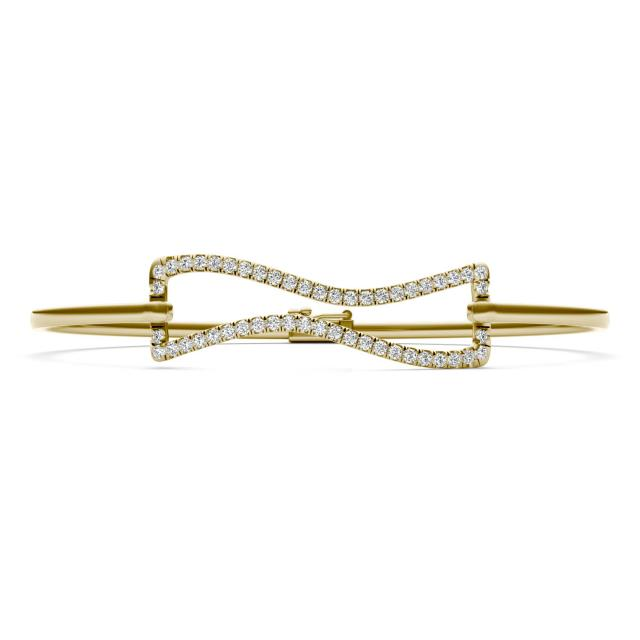 2/3 CTW Round Caydia Lab Grown Diamond Wavy Bangle Bracelet 14K Yellow Gold Stone Color F