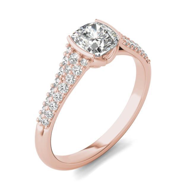 1 1/8 CTW Cushion Caydia Lab Grown Diamond Signature Half Bezel Pave Engagement Ring 18K Rose Gold