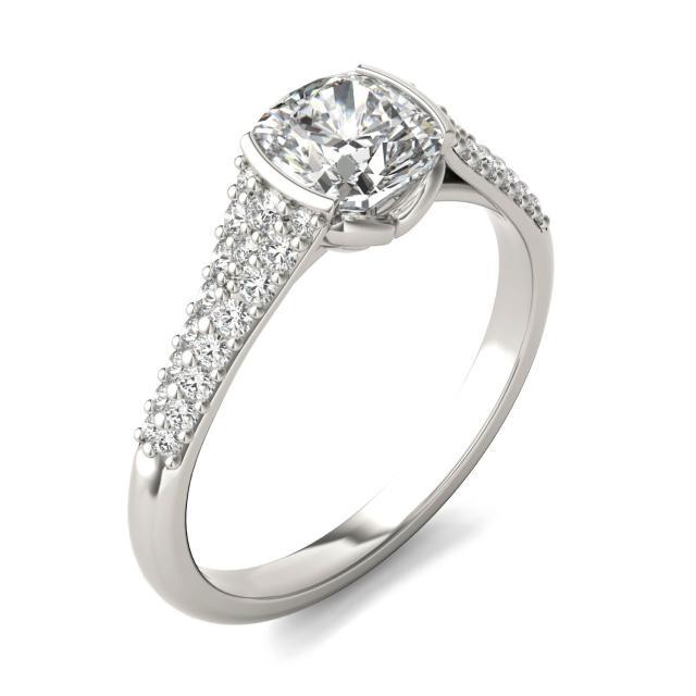1 3/8 CTW Cushion Caydia Lab Grown Diamond Signature Half Bezel Pave Engagement Ring Platinum