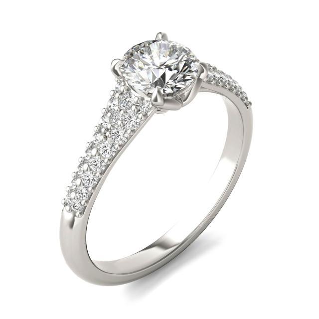 1 1/8 CTW Round Caydia Lab Grown Diamond Signature Multi Row Pave Engagement Ring 18K White Gold