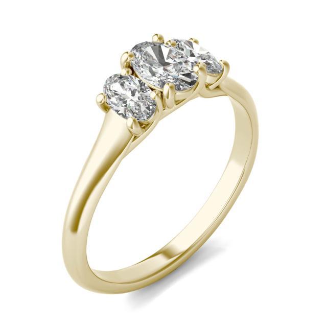 1 CTW Oval Caydia Lab Grown Diamond Three Stone Engagement Ring 14K Yellow Gold