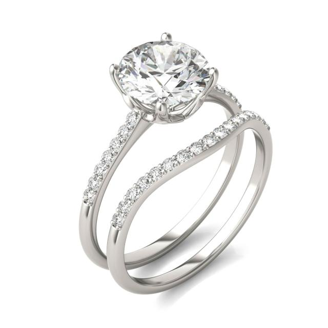 2 1/3 CTW Round Caydia Lab Grown Diamond Signature Bridal Set with Side-Stones 18K White Gold