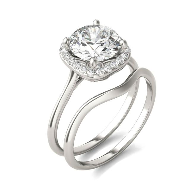 2 3/4 CTW Cushion Caydia Lab Grown Diamond Signature Halo Bridal Set 18K White Gold