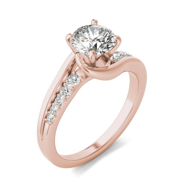 1 1/4 CTW Round Caydia Lab Grown Diamond Solitaire with Side Accents Flair Engagement Ring 18K Rose Gold