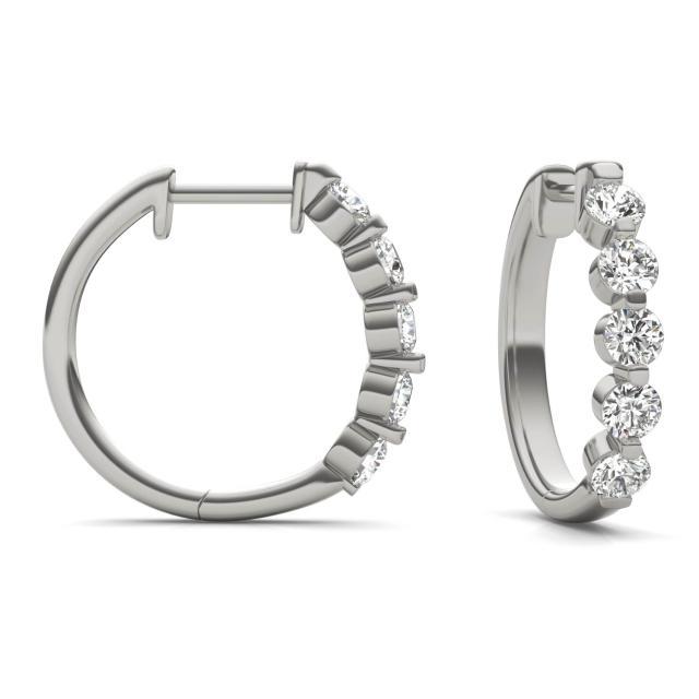 1 CTW Round Caydia Lab Grown Diamond Bar Set Hoop Earrings 14K White Gold