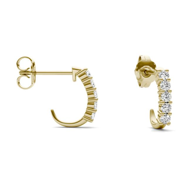 1/3 CTW Round Caydia Lab Grown Diamond Shared Prong J-Hoop Earrings 14K Yellow Gold