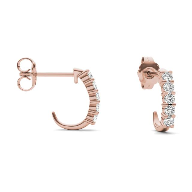 1/3 CTW Round Caydia Lab Grown Diamond Shared Prong J-Hoop Earrings 14K Rose Gold