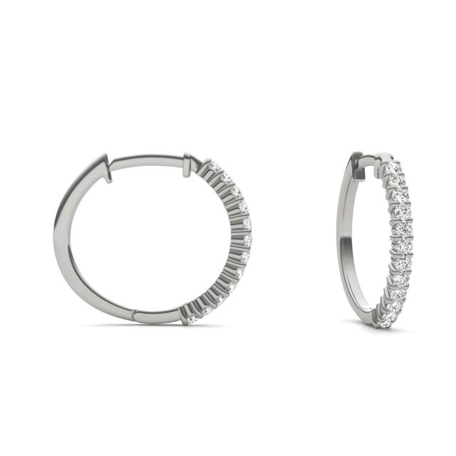 1/4 CTW Round Caydia Lab Grown Diamond Shared Prong Hoop Earrings 14K White Gold