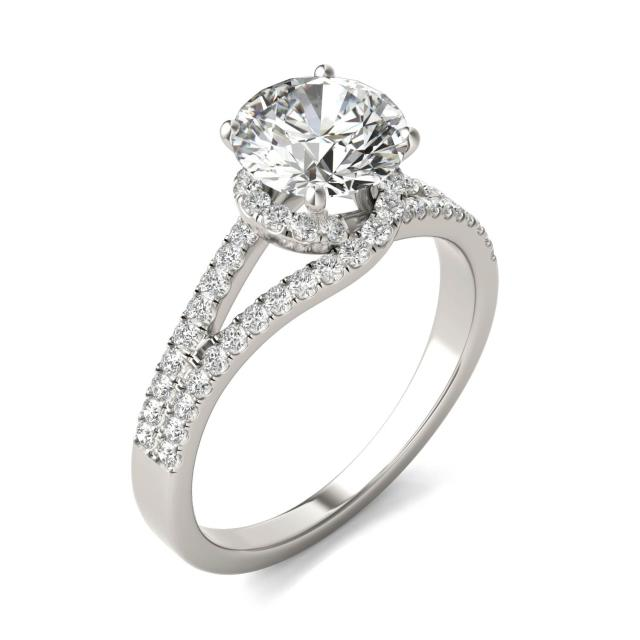 1 7/8 CTW Round Caydia Lab Grown Diamond Infinity Loop Engagement Ring 18K White Gold