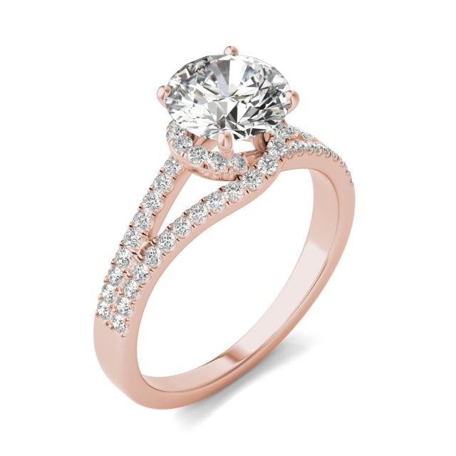 1 7/8 CTW Round Caydia Lab Grown Diamond Infinity Loop Engagement Ring 14K Rose Gold