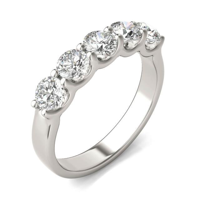 1 1/4 CTW Round Caydia Lab Grown Diamond Five Stone Anniversary Band 14K White Gold