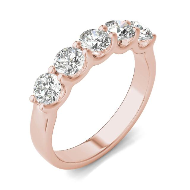 1 1/4 CTW Round Caydia Lab Grown Diamond Five Stone Anniversary Band 14K Rose Gold