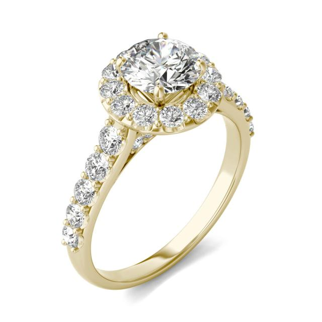 2 1/15 CTW Round Caydia Lab Grown Diamond Shared Prong Halo Engagement Ring 18K Yellow Gold