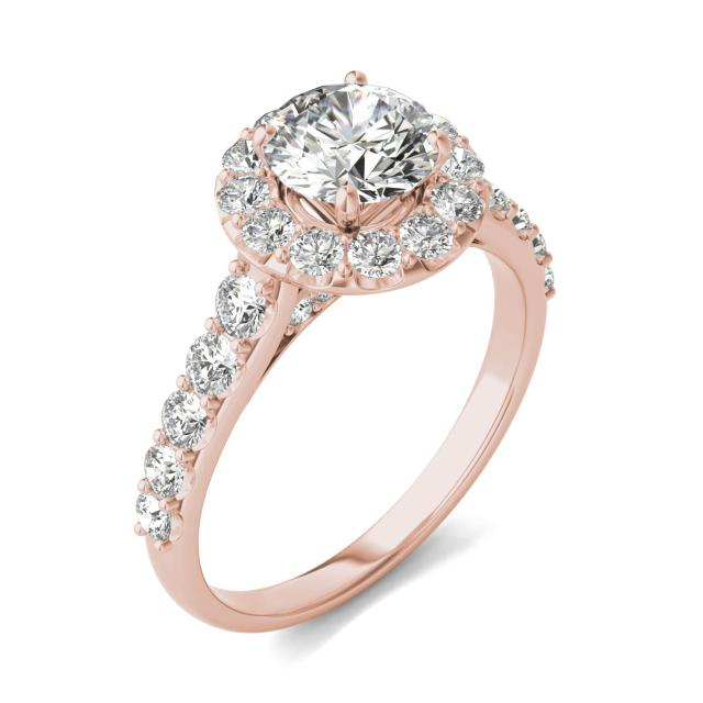 2 1/15 CTW Round Caydia Lab Grown Diamond Shared Prong Halo Engagement Ring 18K Rose Gold