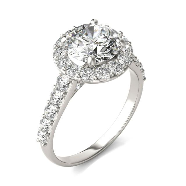 3 CTW Round Caydia Lab Grown Diamond Shared Prong Halo Engagement Ring Platinum