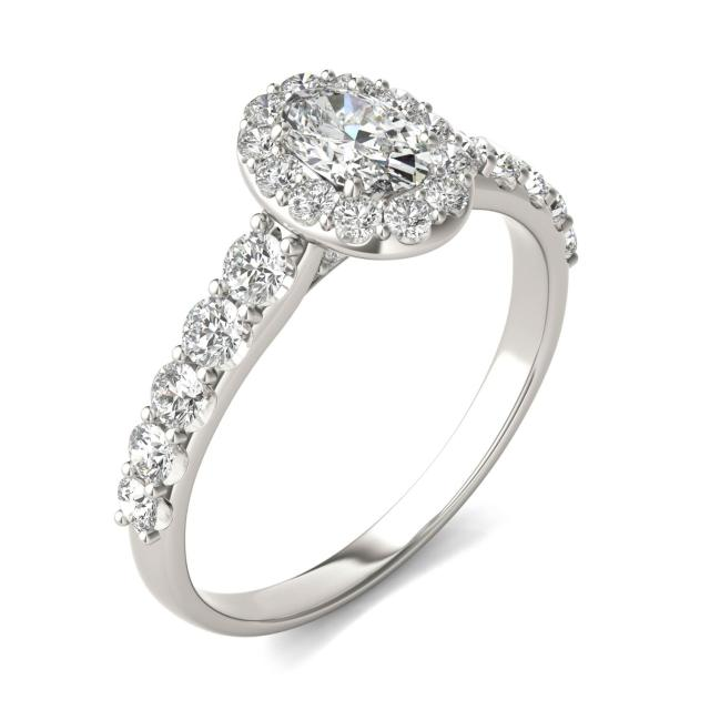 1 1/6 CTW Oval Caydia Lab Grown Diamond Shared Prong Halo Engagement Ring 14K White Gold