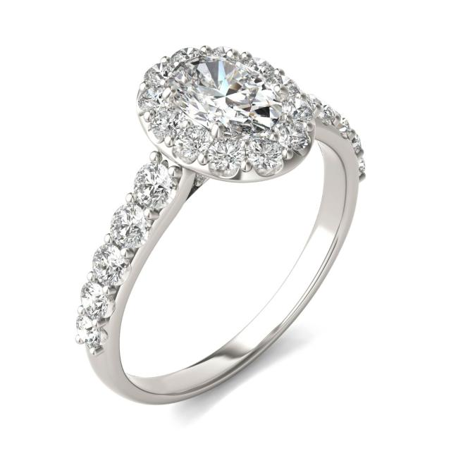 1 3/4 CTW Oval Caydia Lab Grown Diamond Shared Prong Halo Engagement Ring Platinum
