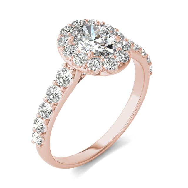 1 3/4 CTW Oval Caydia Lab Grown Diamond Shared Prong Halo Engagement Ring 14K Rose Gold
