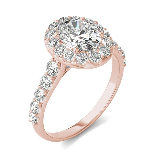 2 3/8 CTW Oval Caydia Lab Grown Diamond Shared Prong Halo Engagement Ring 14K Rose Gold