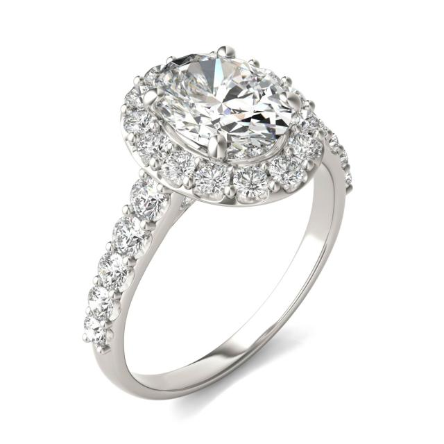 3 CTW Oval Caydia Lab Grown Diamond Shared Prong Halo Engagement Ring 14K White Gold