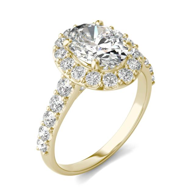 3 CTW Oval Caydia Lab Grown Diamond Shared Prong Halo Engagement Ring 14K Yellow Gold