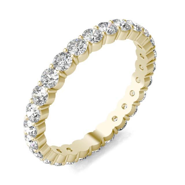 1 1/3 CTW Round Caydia Lab Grown Diamond Scallop Edge Eternity Band Ring 18K Yellow Gold